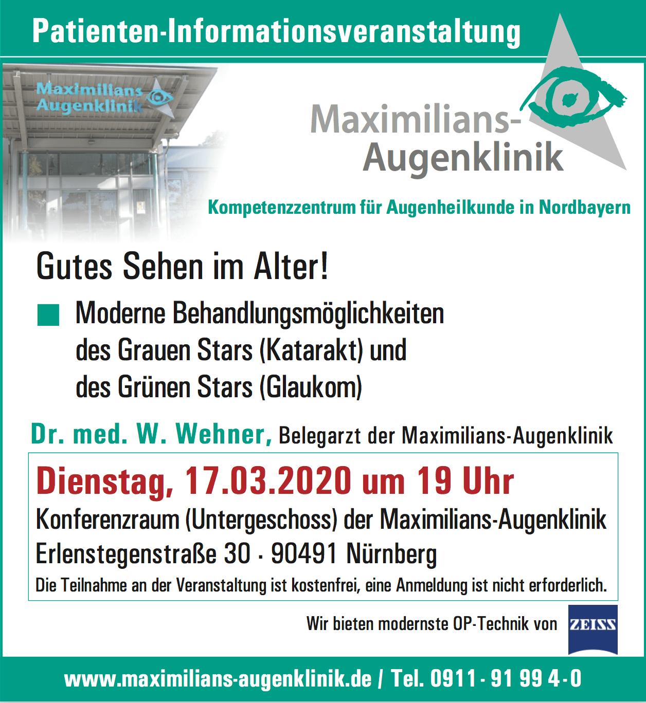 Patienten-Informationsveranstaltung: Grauer und Grüner Star